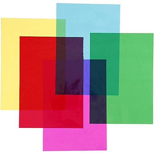 Celofán, A4, 21 x 30 cm, 25 micrones Colores, 100 hojas surtidas