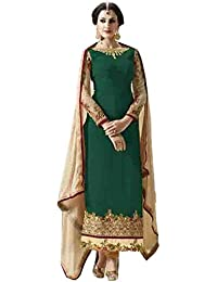 Stylish Fashion Green Embroidered Women's Georgette Straight Salwar Suit