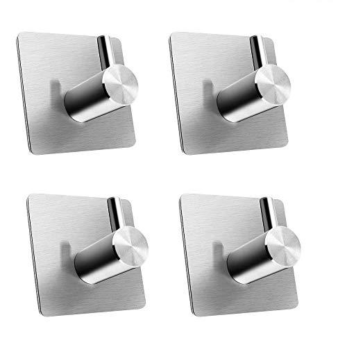 Ulable 4 pezzi bagno adesivo ganci portasciugamani acciaio inox cappotto gancio per bagno,cucina