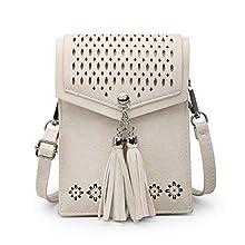 SeOSTO Frauen Mini Umhängetasche, Quaste Umhängetasche Handy Geldbörse Wallet Mit Kartenschlitz (Weiß)