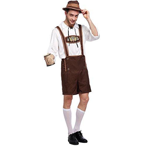 LCWORD Halloween-Kostüme Männer Oktoberfest Kostüm Traditionelle Deutsche Bayerische Bier Cosplay Festival Party Kleidung,L (Deutsch Bier Mann Kostüm)