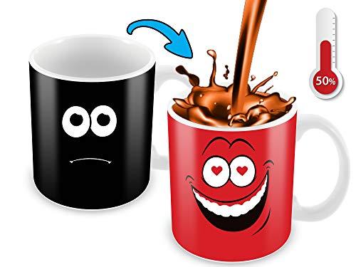Kaffeebecher, wärmeempfindlich, Farbwechsel, lustige Kaffeetasse, lustiges Gesicht, Rot