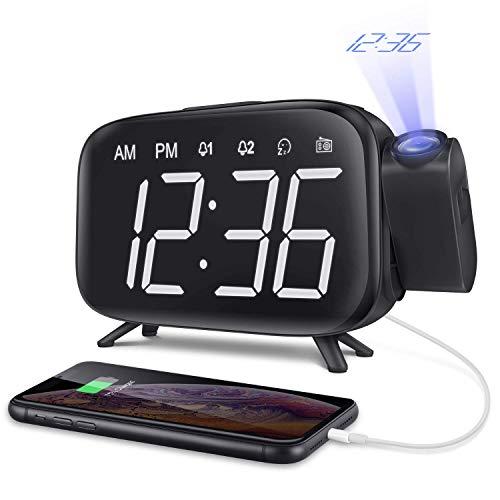 ELEHOT Despertador Proyector Digital Reloj de proyección Pantalla LCD Brillo y Volumen Ajustable 7 Tonos Función de Radio Alimentación USB