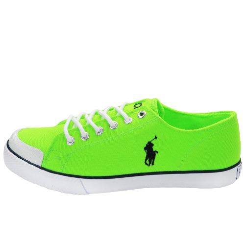 Polo Ralph Lauren 990734, Kinder - Unisex Niedrige Sneaker, schwarz - Neon Green - Größe: 36 EU (Polo Ralph Lauren Sneaker Kinder)
