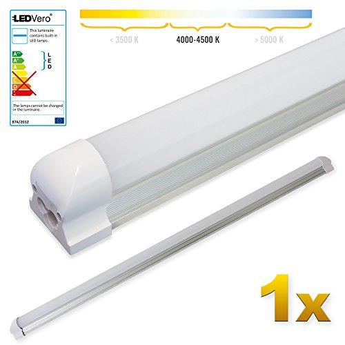 LEDVero 1x SMD LED Tubo 120cm integrado - T8 G13 tubo Revestimiento transparente - 18 W, 1800 Lumen- listo para su instalación, Color Luz:blanco neutro