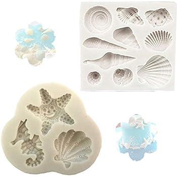 Silicone Cake Seashell Mould Chocolate Beach Starfish Conch Cookies Fondant Mold