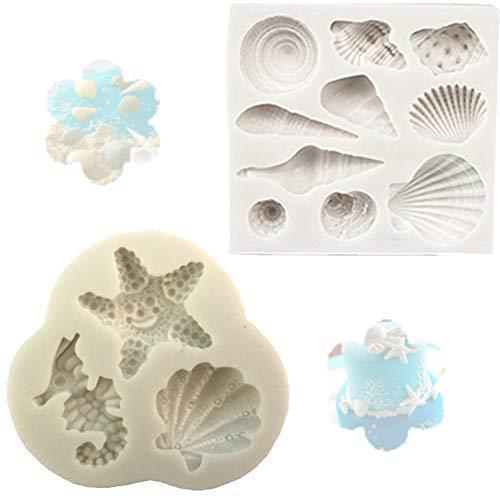 Silikon Kuchen Sea Shell Form Schokolade Strand Seestern Conch Cookies Fondant Form Seife Backen Candy Formen Backen Form