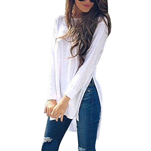 (Subfamily Damen Oansatz Long Sleeves Reine Farbe UnregelmäßIge Tops Sweater Lose Bluse Rundhals Langarm Solid Color UnregelmäßIge Lose Seite Split Long Sleeve T-Shirt)
