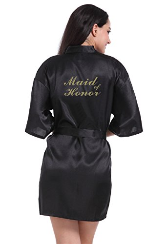 Honeystore Women's Short Kimono Robes For Bride Bridesmaids Maid Of Honor -  £16.69