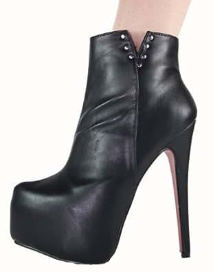 High Heels Plateau Stiefelette mit Stiletto Absatz und Nieten im Italy Design, Kunstleder, Absatz 16 cm, schwarz, Gr. 39