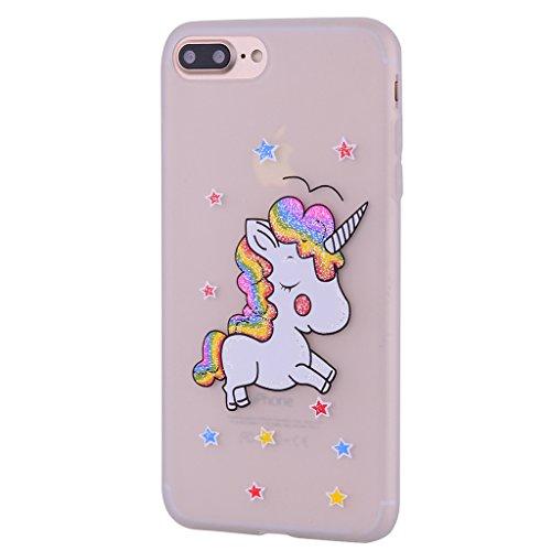 Per iPhone 7 Plus / iPhone 8 Plus Cover , YIGA bianco unicorno Silicone Morbido TPU Case Shell Caso Protezione Custodia per Apple iPhone 7 Plus / iPhone 8 Plus (5.5) white