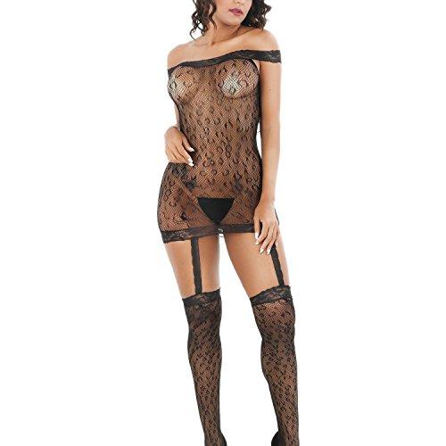 SSScok Damen Unterwäschen Reizwäsche Netz Strumpfhose Bodystockings Badydoll Hohle Jumpsuit Frauen Bodysuit Nachtwäsche Dessous