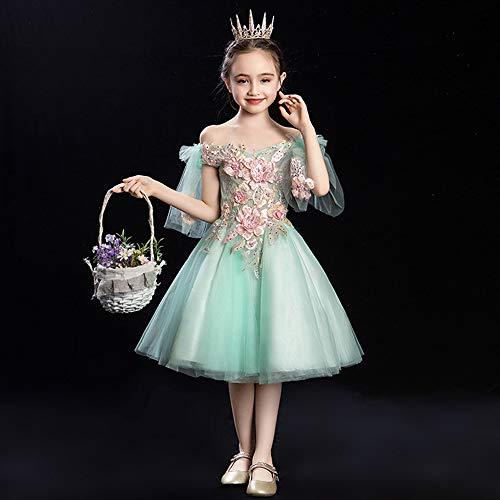 ZMDHL Mädchen Prinzessin Kleid, Mädchen Flauschigen Rock Geburtstag Kleid Rock, erste Heilige Kommunion Geburtstag Weihnachten Ball Kleid Kleid,130cm