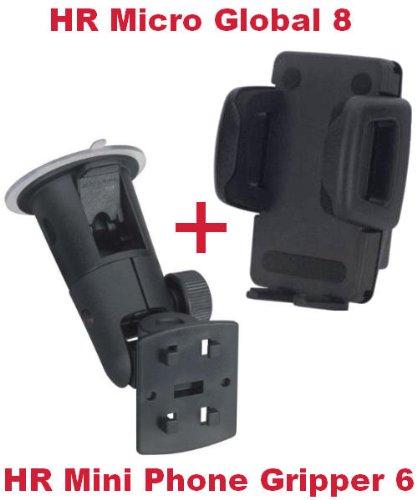 HR Richter Universal Handy Smartphone PDA KFZ Halter Halterung Mini Phone Gripper 6 1245/46 und Micro Global 8 Turmsauger für HTC Sensation XE Sensation XL Smart T4242 T-4242 T5555 T-5555 T8585