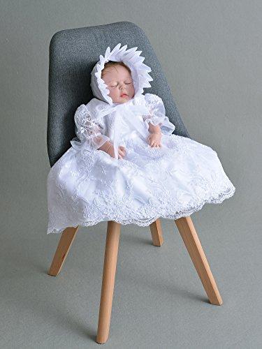 Cinda Baby Spitze Taufkleid Taufe Kleid und Mütze Weiß 62-68 - 4