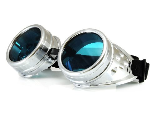WELDING CYBER GOGGLES Schutzbrille Schweißen Goth cosplay STEAMPUNK COSPLAY GOTH ANTIQUE VICTORIAN WITH SPIKES Includes FREE set Lense Shades UV400 Protection Morefaz(TM) (Silber)
