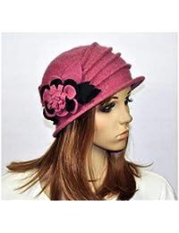 1959883f84 FidgetGear M92 Pink Wool Acrylic Cute Flowers Winter Brim Hat Cap Beanie  Women's