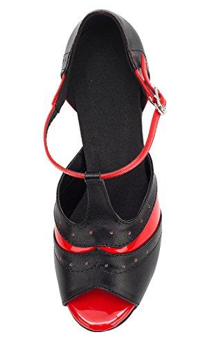 TDA , Sandales Compensées femme 7cm Heel Black Red