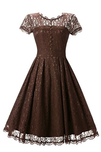 BEIJG Elegantes Spitzekleid-Cocktailkleid Knielanges Weinlese 50s Ballkleid Frauen Party Kleid,...
