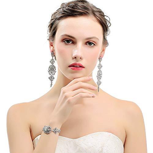 MNGGNM Kristall Brautschmuck Sets Blumenmuster Lange Ohrringe Armband Set Modeschmuck