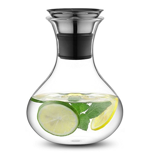 Ecooe Glaskrug 1 Liter Glaskaraffe Wasserkrug mit Edelstahl Deckel Karaffe Glaskanne