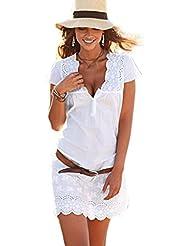 Tefamore Robe courte à manches courtes en dentelle à encolure féminine