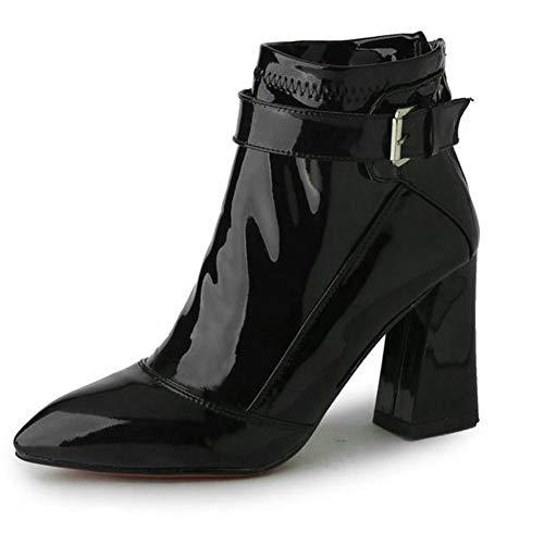 Frauen Schuhe Spitz PU Lackleder Zurück Reißverschluss Stiefel -