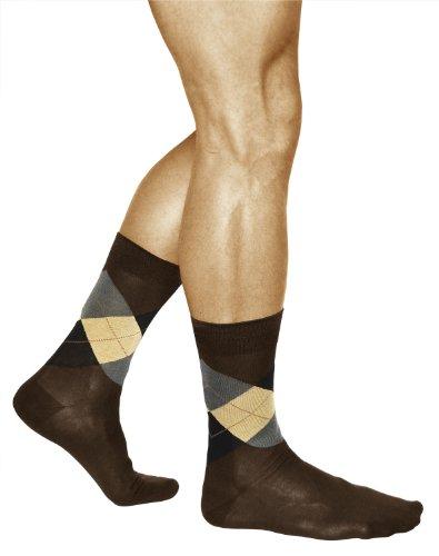 vitsocks 3 Paar Herren Socken Kariert, MERCERISIERTE BAUMWOLLE, Klassisch, 39-41, braun