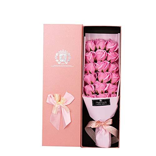 Canifon Flores Artificiales Día De San Valentín Regalo 18 Rosa Flor De Jabón Flores Románticas Artificiales Ramo Rosa Caja De Regalo