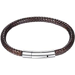 PROSTEEL Bracelet Homme Cuir Marron 5mm Corde Tressé avec Fermoir Acier Magnétique 18cm de Long Bijoux Tendance pour Garçon