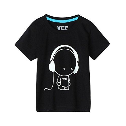 Kinderkleidung, Yanhoo Sommer Familie Mann Vater Headset Kurzarm Kopfhörer Boy Print Fluoreszenz T-Shirt Kleidung Eltern-Kind Outfit (150 Kinder, Schwarz)
