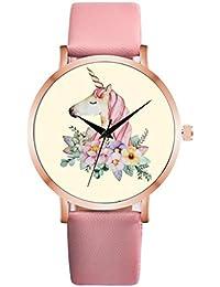 Relojes para Mujer,Lindo Unicornio Animal Reloj Mujeres Chica Cuero Correa Analógico Cuarzo Reloj de Mujer…