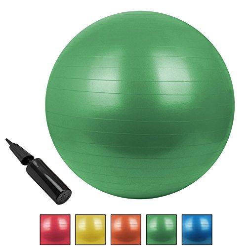 Universal Gymnastikball Sitzball BOBBY in verschiedenen Größen und Farben Gymnastikball mit Pumpe berstsicher bis 300 kg, Durchmesser:55 cm;Farbe:Natural Green