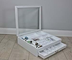 schmuckkasten box glasdeckel wei holz landhaus setzkasten. Black Bedroom Furniture Sets. Home Design Ideas