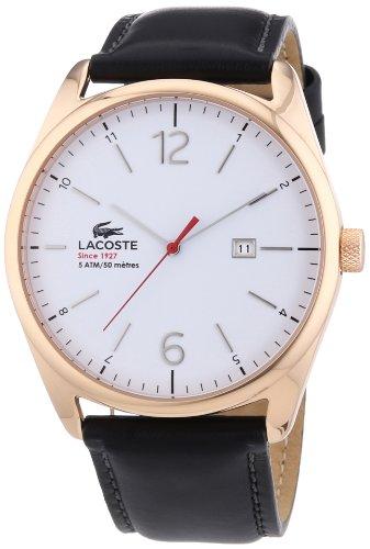 Lacoste 2010681Mens Quartz Analog Watch, Leather Strap Black