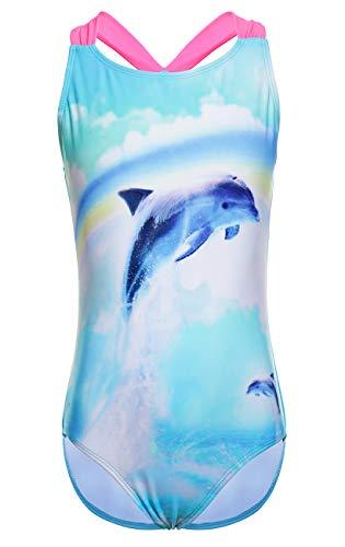 DUSISHIDAN Einteiliger Bikini Badeanzüge für Mädchen bademode Niedlicher Cartoon, UV-Schutz Delphin/Blaues Pferd/Blaue Eule, Regenbogen - Delphin, 164-176 XL(14)