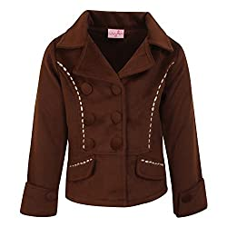 Cutecumber Girls Tweed Coat Fabric Embellished Brown Coat AM-CC898A-BROWN-28