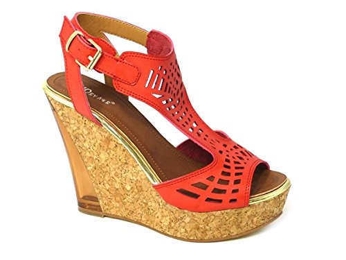 Mesdames pour femme Soutien-gorge Effet Boucle Haute Wedge Talon Plateforme en liège Peep Toe chaussures sandale différents Designs Taille 345678 Corail
