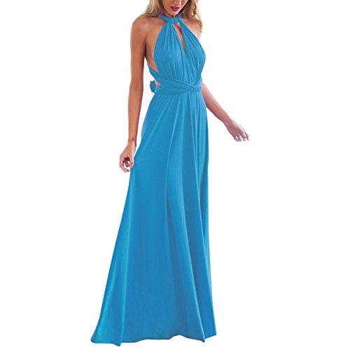 Damen Frauen Multi-tragen Kreuz Halfter Abendkleid Brautjungfer Langes Kleid Multiway-Kleid V-Ausschnitt Rückenfrei Maxikleid Sommerkleider Strandkleid Cocktailkleid Partykleid Blau