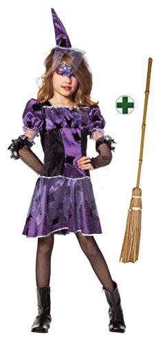Hexen-kostüm Kinder Hexe für Mädchen Hexenkostüm schwarz lila Luxus Halloween Hexenkleid MIT Hexenhut MIT Hexenbesen (Hexe Geraffte Hut Schwarze)