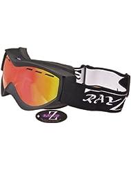 Rayzor Masque de ski anti UV400 à double écran avec revêtement anti-buée Cadre noir et verre réfléchissant Wide Vision Clarity Violet/doré iridescent