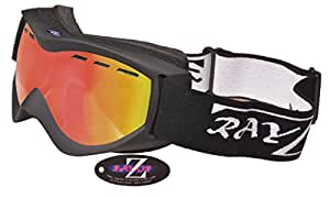 Rayzor Professional UV400 Double Lensed Ski / SnowBoard Goggles, With a Black Frame and an Anti Fog Coated, Purple / Gold Iridium Mirrored Anti-Glare Wide Vision Clarity Lens.