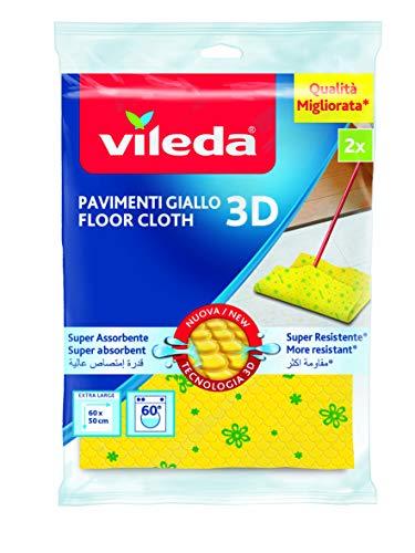 Vileda - panno pavimenti, giallo, microfibra - 2 pezzi