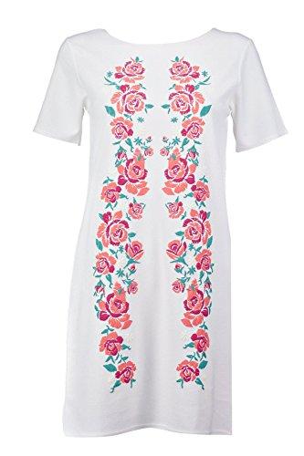 Weiß Damen Mila Druckened Embroidered Shift Kleid Weiß
