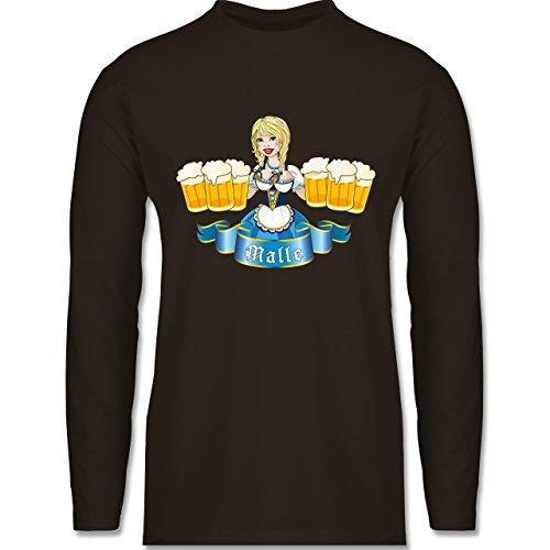 Urlaub - Malle Bier Mädl - Longsleeve / langärmeliges T-Shirt für Herren Braun
