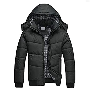 Leoie Warm Thick Jackets for Men Plus Size Coats Men Cotton Padded Jacket Warm Hooded Overcoat Casual Winter Outwear Black high Weight (0.75KG) XXL