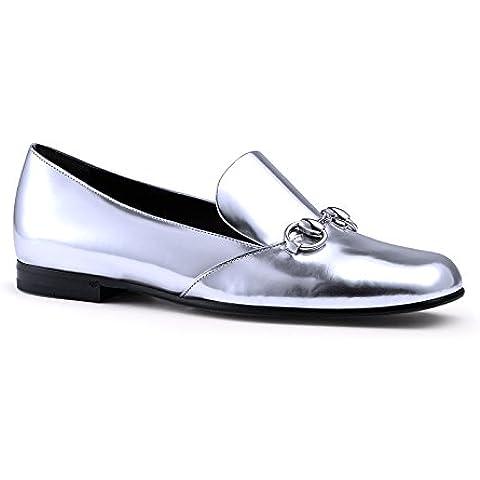 Zapatos mocasines de Gucci cuero metalizado plata bocado - Número de modelo: 370229 BRK00 8106