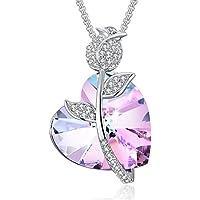 """PLATO H elementi di Swarovski Crystal Glass Heart """"Pure Love"""" con la collana del pendente petali di rosa con 46 cm / gioielleria collana Wedding 19 pollici blu e viola"""