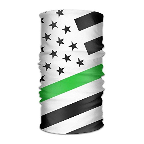 Wfispiy Eason-G Bandana Stirnband Green Thin Line US Flag Multifunctional Magic Handscarf Face Mask