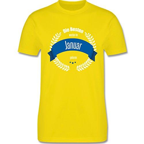 Geburtstag - Die Besten werden im Januar geboren - Herren Premium T-Shirt Lemon Gelb